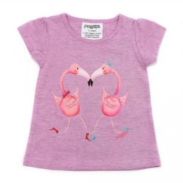 Tricou din bumbac organic cu pasari flamingo