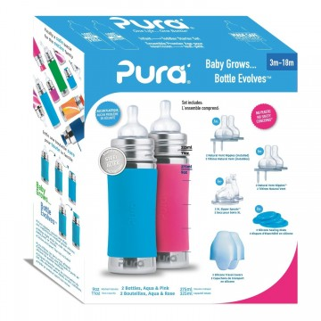 Set biberoane Pura Stainless 300 ml